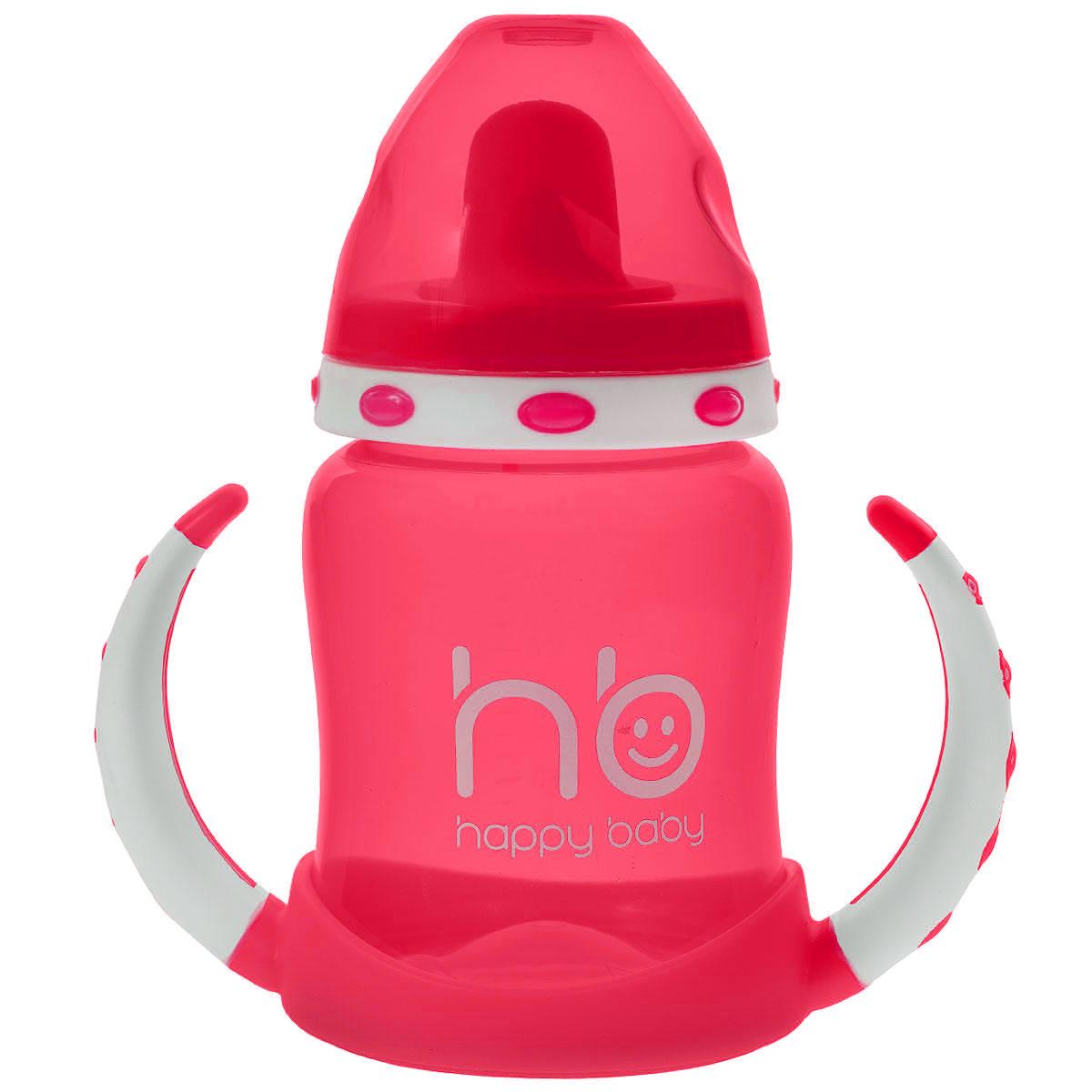 Поильник Happy Baby Ergo Cup, с двумя тренировочными клапанами, от 6 месяцев, цвет: малиновый, 180 мл