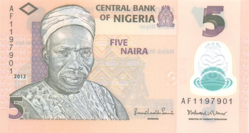 Банкнота номиналом 5 найра. Полимер. Нигерия. 2013 годF30 BLUEБанкнота номиналом 5 найра. Полимер. Нигерия. 2013 год. Размер 13 х 7 см. Сохранность очень хорошая.