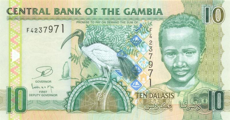 Банкнота номиналом 10 даласи. Гамбия. 2006 годF30 BLUEРазмер 13,8 х 7,2 см.