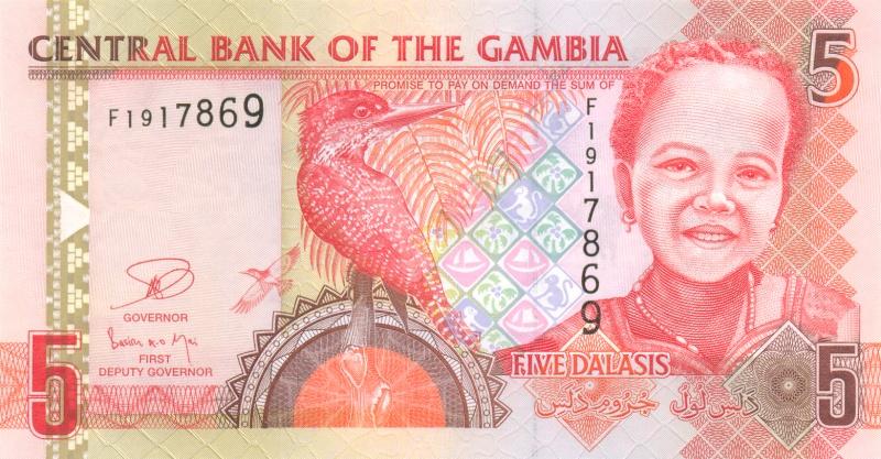 Банкнота номиналом 5 даласи. Гамбия. 2006 год