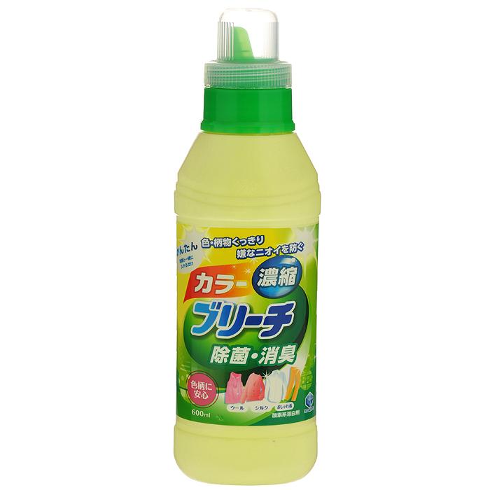 Кислородный отбеливатель Daiichi Bleach, для цветного белья, 600 мл325002Концентрированный кислородный отбеливатель Daiichi Bleach не содержит хлора, обеспечивает простое и безопасное отбеливание изделий из шелка, шерсти и хлопка. Сохраняет четкость узора и цвет вашей одежды, предупреждает появление неприятных запахов и уничтожает бактерии. Используется для удаления пятен (от кофе, чая, травы, крови, пота), отбеливания, устранения запаха и дезинфицирования очень грязной одежды. Подходит для отбеливания детского белья и одежды новорожденных.