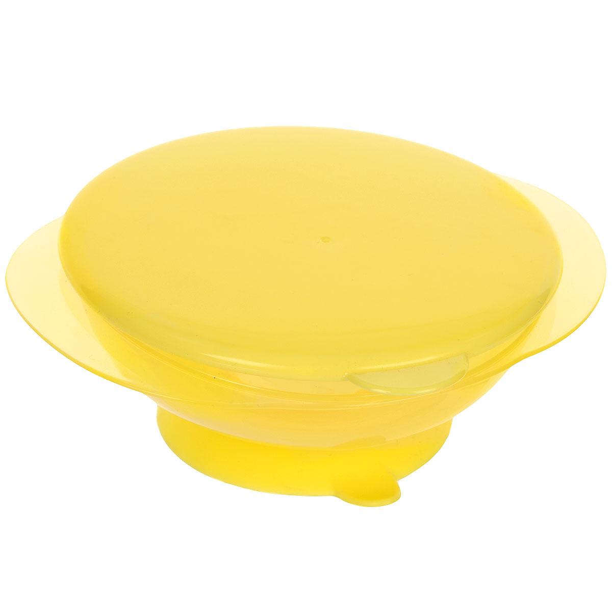 Тарелка на присоске Happy Baby, с крышкой, цвет: желтый15002_желтыйДетская тарелочка Happy Baby с удобной присоской идеально подойдет для кормления малыша и самостоятельного приема им пищи. Тарелочка выполнена из безопасного прозрачного полипропилена, не содержащего Бисфенол А. Специальная резиновая присоска фиксирует тарелку на столе, благодаря чему она не упадет, еда не прольется, а ваш малыш будет доволен. В комплект к тарелке предусмотрена плотно закрывающаяся крышка, которая позволит сохранить остатки еды или будет полезна в дороге.