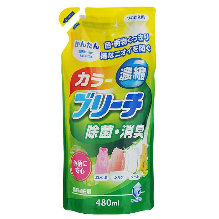 Кислородный отбеливатель Daiichi Bleach, для цветного белья, 480 мл325019Концентрированный кислородный отбеливатель Daiichi Bleach не содержит хлора, обеспечивает простое и безопасное отбеливание изделий из шелка, шерсти и хлопка. Сохраняет четкость узора и цвет вашей одежды, предупреждает появление неприятных запахов и уничтожает бактерии. Используется для удаления пятен (от кофе, чая, травы, крови, пота), отбеливания, устранения запаха и дезинфицирования очень грязной одежды. Подходит для отбеливания детского белья и одежды новорожденных.