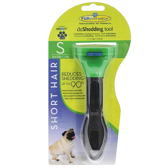 Фурминатор для короткошерстных собак мелких пород FURminator, длина лезвия 4,5 см112082Фурминатор FURminator специально разработан профессиональными грумерами для короткошерстных собак мелких пород от 5 кг до 9 кг с шерстью длиной до 5 см. Это удивительно простой и максимально эффективный инструмент. Конструкция лезвия расчески, выполненного из нержавеющей стали, быстро и аккуратно удаляет отмерший подшерсток. За несколько сеансов (2-4) легко вычесывается до 90% отмерших волосков, и линька проходит менее заметно. Безопасен и эффективен, не режет шерсть, мягко выдергивает мертвый подшерсток, не повреждая гладкий остевой волос. Кнопка FURejector легко очищает шерсть с инструмента. Эргономичная ручка из резины обеспечивает надежный хват и более удобное использование. Вы забудете о спутанной шерсти, проблеме колтунов, о массе подшерстка, который остается на мебели, одежде и на полу. При постоянном применении значительно снижает риск аллергии на домашних животных. Характеристики: Материал: нержавеющая сталь, пластик, резина. Цвет:...