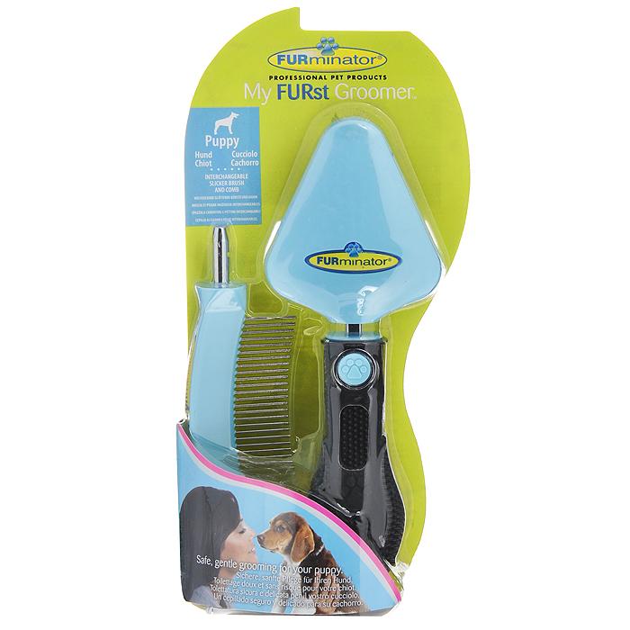 Фурминатор для щенка FURminator My FURst Groomer, 2 предмета113690Фурминатор для щенка FURminator My FURst Groomer - это удобный и эффективный прибор, который имеет две насадки: сликер (пуходерка) и расческа (гребень). Прибор мягко убирает отмерший подшерсток, сохраняет здоровье шерсти животного, не повреждая остевой волос. Съемный сликер и расческа безопасны и легки в применении. Эргономичная ручка из резины обеспечивает надежный хват и более удобное использование. Характеристики: Материал: металл, пластик, резина. Цвет: голубой, черный. Размер рабочей поверхности сликера: 6 см х 7 см. Длина рабочей поверхности гребня: 7 см. Размер упаковки: 11,5 см х 23 см х 4,5 см.