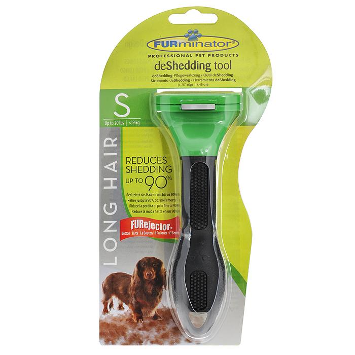 Фурминатор для длинношерстных собак мелких пород FURminator, длина лезвия 4 см112150Фурминатор FURminator специально разработан профессиональными грумерами для длинношерстных собак мелких пород от 5 кг до 9 кг с шерстью длиной от 5 см. Это удивительно простой и максимально эффективный инструмент. Конструкция лезвия расчески, выполненного из нержавеющей стали, быстро и аккуратно удаляет отмерший подшерсток. За несколько сеансов (2-4) легко вычесывается до 90% отмерших волосков, и линька проходит менее заметно. Безопасен и эффективен, не режет шерсть, мягко выдергивает мертвый подшерсток, не повреждая гладкий остевой волос. Кнопка FURejector легко очищает шерсть с инструмента. Эргономичная ручка из резины обеспечивает надежный хват и более удобное использование. Вы забудете о спутанной шерсти, проблеме колтунов, о массе подшерстка, который остается на мебели, одежде и на полу. При постоянном применении значительно снижает риск аллергии на домашних животных. Характеристики: Материал: нержавеющая сталь, пластик, резина. ...