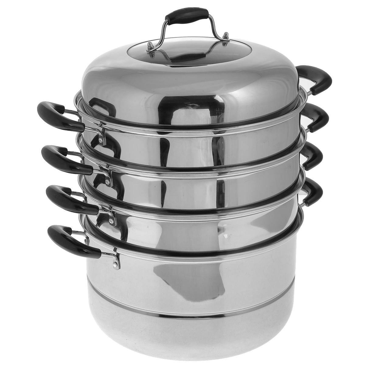 Мантоварка Mayer & Boch, 4-уровневая, 10,4 л. 2146421464Четырехъярусная мантоварка Mayer & Boch изготовлена из нержавеющей стали с зеркальной полировкой. Изделие состоит из основной емкости-кастрюли, трех секций с отверстиями, сетки и крышки. Специальный многоуровневый дизайн позволяет готовить до четырех различных блюд одновременно. Идеально подходит для национальных блюд как манты, котлеты, овощи, пельмени на пару и многое другое. Блюда, приготовленные на пару, являются самыми здоровыми и полезными, так как при их приготовлении не используется масло и жир. Они сохраняют все питательные вещества и витамины. Мантоварка оснащена удобными ручками из бакелита черного цвета. Крышка из нержавеющей стали оснащена стеклянным окошком и бакелитовой ручкой. Подходит для газовых, электрических, стеклокерамических плит. Можно мыть в посудомоечной машине. Объем кастрюли: 10,4 л. Диаметр: 30 см. Общая высота (в собранном виде, без учета крышки): 34 см. Диаметр основания: 26,5 см.