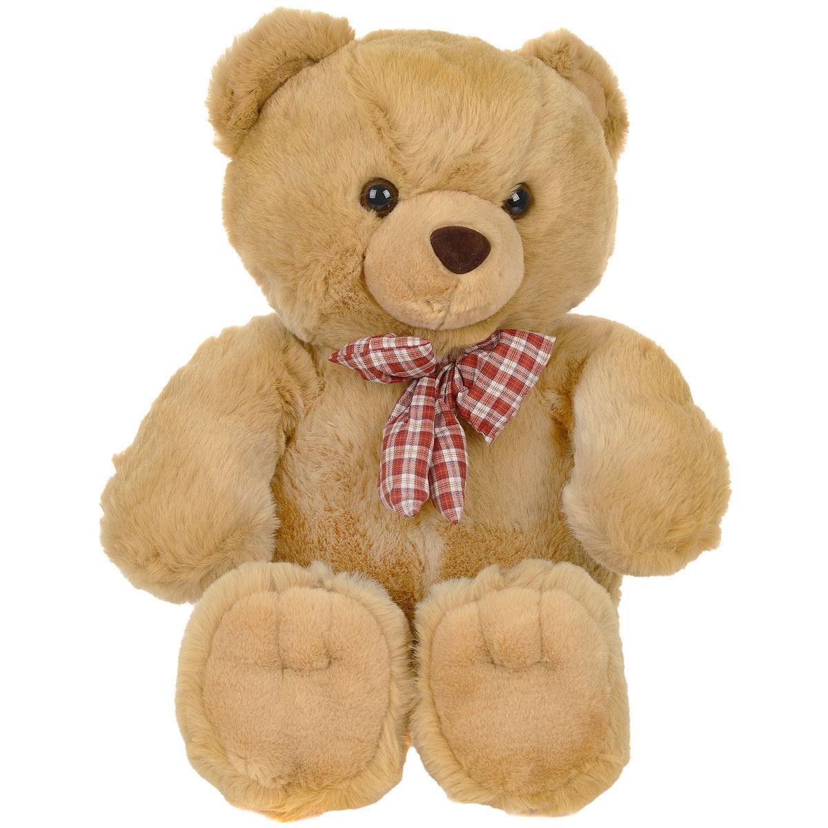 Мягкая игрушка Медведь с клетчатым бантом, цвет: медовый, 80 см11-415Очаровательная мягкая игрушка Медведь c клетчатым бантом, выполненная в виде медвежонка медового цвета с бантиком в клеточку на шее, вызовет умиление и улыбку у каждого, кто ее увидит. Удивительно мягкая игрушка принесет радость и подарит своему обладателю мгновения нежных объятий и приятных воспоминаний. Она выполнена из высококачественного искусственного меха с набивкой из гипоаллергенного синтепона. Великолепное качество исполнения делают эту игрушку чудесным подарком к любому празднику.