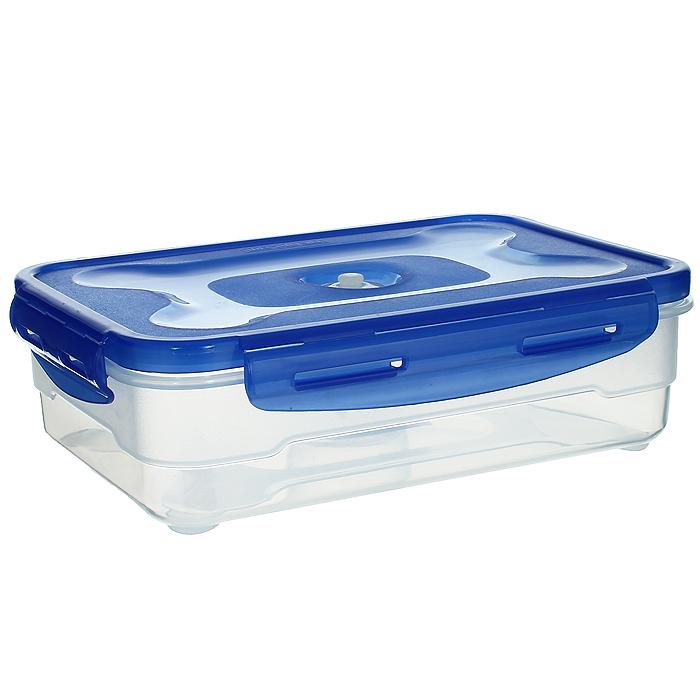 Контейнер вакуумный для пищевых продуктов Atlantis, цвет: синий, 1,2 лVS2R-31Контейнер Atlantis прямоугольной формы предназначен для хранения пищевых продуктов. Контейнер изготовлен из пищевого пластика, в состав которого включена антибактериальная добавка Microban. Microban, встроенный в структуру пластика, препятствует размножению микроорганизмов, уничтожает до 99,6% бактерий, находящихся на поверхности изделия. Сила межмолекулярных связей внутри полимера удерживает антисептик на поверхности и он не распространяется в сохраняемый продукт. Не изменяет вкусовых свойств хранимых в контейнере продуктов, препятствует размножению болезнетворных бактерий, сохраняет антибактериальные свойства в течение всего срока использования контейнера. Продукты сохраняются свежими дольше, чем в обычных контейнерах. Позволяет предотвратить загрязнение и неприятный запах, вызываемый бактериями, грибком и плесенью. Продукты в вакуумном контейнере можно ставить в морозилку или разогревать в микроволновой печи, не снимая при этом крышку контейнера. Состояние...