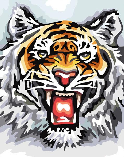 Живопись на холсте Свирепый тигр, 40 х 50 см555-CG Свирепый тигрЖивопись на холсте Свирепый тигр - это набор для раскрашивания по номерам акриловыми красками на холсте. В набор входят: - холст на подрамнике с нанесенным рисунком, - пробный лист с нанесенным рисунком, - набор акриловых красок, - кисти, - настенное крепление для готовой картины. Каждая краска имеет свой номер, соответствующий номеру на картинке. Нужно только аккуратно нанести необходимую краску на отмеченный для нее участок. Таким образом, шаг за шагом у вас получится великолепная картина. С помощью серии наборов Живопись на холсте вы можете стать настоящим художником и создателем прекрасных картин. Вы получите истинное удовольствие от погружения в процесс творчества и созданные своими руками картины украсят интерьер вашего дома или станут прекрасным подарком. Техника раскрашивания на холсте по номерам дает возможность легко рисовать даже сложные сюжеты. Прекрасно развивает художественный вкус, аккуратность и внимание. Набор...