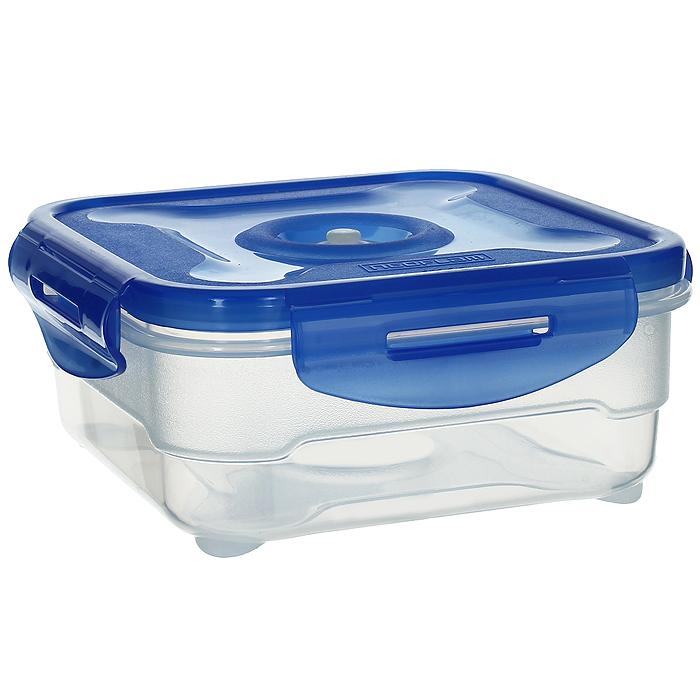 Контейнер вакуумный для пищевых продуктов Atlantis, цвет: синий, 0,8 лVS2R-51Контейнер Atlantis квадратной формы предназначен для хранения пищевых продуктов. Контейнер изготовлен из пищевого пластика, в состав которого включена антибактериальная добавка Microban. Microban, встроенный в структуру пластика, препятствует размножению микроорганизмов, уничтожает до 99,6% бактерий, находящихся на поверхности изделия. Сила межмолекулярных связей внутри полимера удерживает антисептик на поверхности и он не распространяется в сохраняемый продукт. Не изменяет вкусовых свойств хранимых в контейнере продуктов, препятствует размножению болезнетворных бактерий, сохраняет антибактериальные свойства в течение всего срока использования контейнера. Продукты сохраняются свежими дольше, чем в обычных контейнерах. Позволяет предотвратить загрязнение и неприятный запах, вызываемый бактериями, грибком и плесенью. Продукты в вакуумном контейнере можно ставить в морозилку или разогревать в микроволновой печи, не снимая при этом крышку контейнера. Состояние вакуума...