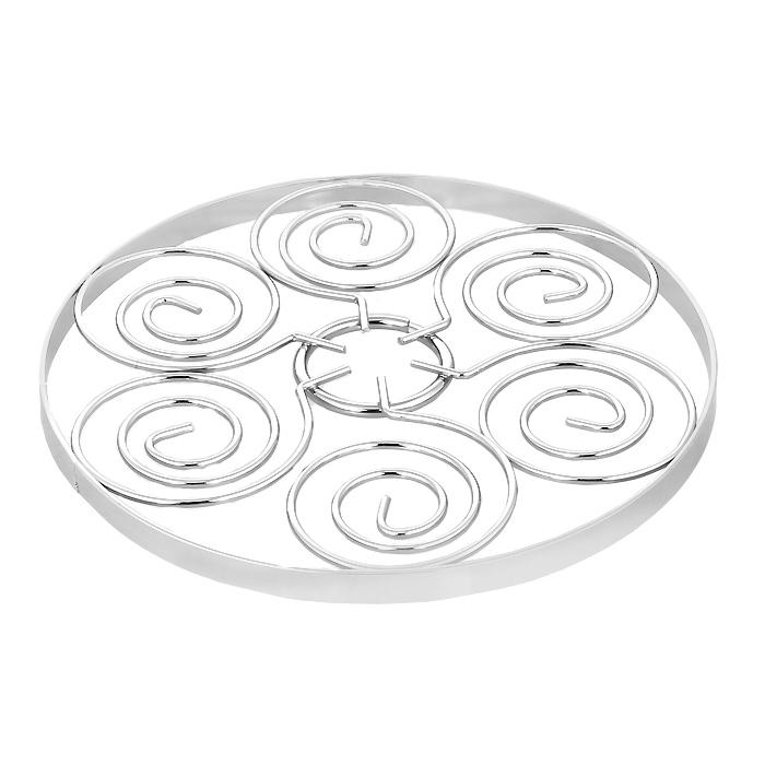 Подставка декоративная для горячего Swirl. 05097810509781Декоративная подставка для горячего Swirl выполнена из стали. Подставка оформлена изящным орнаментом. Такая яркая подставка не только оригинально украсит ваш стол, но и сбережет его от высоких температур. Характеристики: Материал: сталь. Диаметр подставки: 17,5 см. Высота подставки: 1 см. Артикул: 0509781.