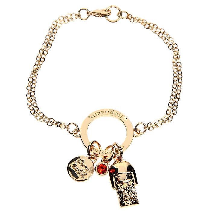Браслет женский Kimmidoll Тацуйо (Сила духа), цвет: золотистый. KF0916KF0916Очаровательный браслет, выполненный с подвеской в виде куколки Тацуйо и двух дополнительных подвесок из высококачественного металла, оформлен кристаллами Swarovski красного цвета и упакован в подарочную коробку. Такой браслет с лазерной гравировкой прекрасно подойдет к любому образу. Привет, меня зовут Тацуйо! Я талисман силы духа. Мой дух мощный и целеустремленный. Ваша целеустремленность и верность вашим идеалам,раскрывает силу моего духа. Пусть ваша смелость и преданность помогают вам в жизни, дают силы и направляют вас к намеченным целям.