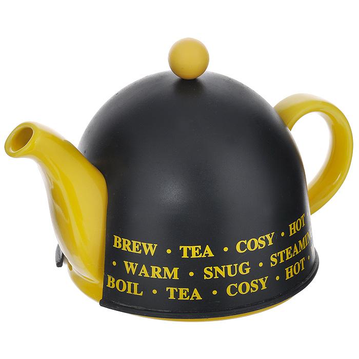 Чайник заварочный Mayer & Boch, с термоколпаком, цвет: желтый, черный, 500 мл. 2187421874Заварочный чайник Mayer & Boch изготовлен из высококачественной глазурованной керамики черного и желтого цветов. Чайник оснащен металлическим ситечком, удобной крышкой и ручкой. В комплекте - термо-колпак, выполненный из пластика белого цвета. Внутренняя поверхность колпака отделана теплосберегающей тканью. Колпак имеет специальные выемки для носика и ручки. Яркий стильный заварочный чайник эффектно украсит стол к чаепитию и станет его неизменным атрибутом. Диаметр чайника (по верхнему краю): 5 см. Диаметр основания чайника: 14 см. Высота чайника (без учета крышки): 9 см. Высота ситечка: 6 см. Высота колпака: 12 см.