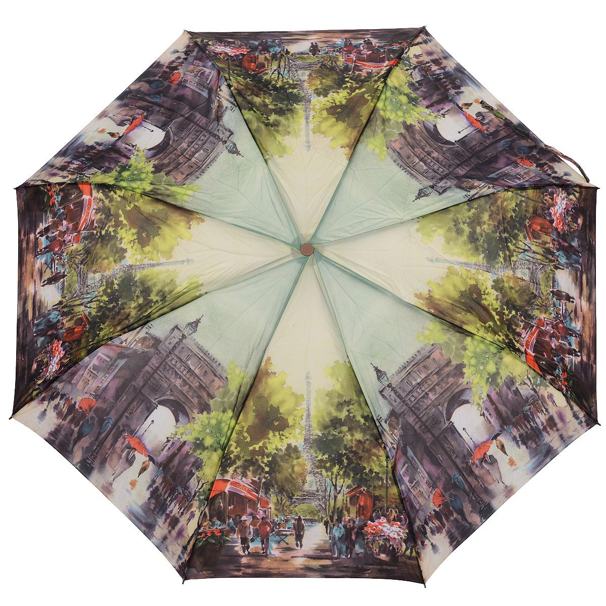 Зонт женский Zest, автомат, 3 сложения, цвет: зеленый. 239455-61239455-61Автоматический зонт Zest в 3 сложения даже в ненастную погоду позволит вам оставаться стильной и элегантной. Детали каркаса изготовлены из высокопрочных материалов, специальная система Windproof защищает его от поломок. Зонт оснащен 8 спицами, выполненными из фибергласса. Ручка из прорезиненного пластика разработана с учетом требований эргономики. Используемые высококачественные красители, а также покрытие Teflon обеспечивают длительное сохранение свойств ткани купола зонта. Купол выполнен из полиэстера зеленого цвета и оформлен принтом с изображением Парижа. Зонт имеет полный автоматический механизм сложения: купол открывается и закрывается нажатием кнопки на рукоятке, стержень складывается вручную до характерного щелчка. На рукоятке для удобства есть небольшой шнурок, позволяющий надеть зонт на руку тогда, когда это будет необходимо. К зонту прилагается чехол.