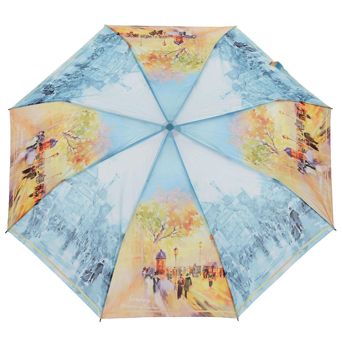 Зонт женский Zest, автомат, 3 сложения. 239555-18239555-18Женский автоматический зонт Zest в 3 сложения даже в ненастную погоду позволит вам оставаться стильной и элегантной. Каркас зонта состоит из 8 спиц из фибергласса и стали и прочного алюминиевого стержня. Специальная система Windproof защищает его от поломок во время сильных порывов ветра. Купол зонта выполнен из прочного полиэстера с водоотталкивающей пропиткой и оформлен оригинальным изображением улиц Парижа осенью. Используемые высококачественные красители, а также покрытие Teflon обеспечивают длительное сохранение свойств ткани купола. Рукоятка, разработанная с учетом требований эргономики, выполнена из приятного на ощупь прорезиненного пластика голубого цвета. Зонт имеет полный автоматический механизм сложения: купол открывается и закрывается нажатием кнопки на рукоятке, стержень складывается вручную до характерного щелчка, благодаря чему открыть и закрыть зонт можно одной рукой, что чрезвычайно удобно при входе в транспорт или помещение. На рукоятке для удобства...