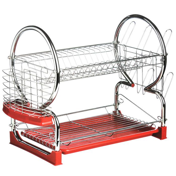 Сушилка для посуды Premier Housewares, 2 яруса, цвет: красный0509586Двухъярусная сушилка для посуды Premier Housewares выполнена из высококачественной хромированной стали и красного пластика. В сушилке предусмотрены отделения для тарелок, чашек и столовых приборов. Благодаря конструкции с вместительным поддоном для сбора воды, вы не будете тратить время на вытирание посуды после мытья. Удобные ручки позволят перенести посуду прямо в сушилке. Стальная часть конструкции защищена от коррозии хромированным покрытием, что гарантирует ей продолжительное время эксплуатации и эстетичный внешний вид. Сушилка для посуды Premier Housewares станет незаменимым помощником на кухне. Компактность сушилки позволит расположить ее по вашему усмотрению - на свободном крыле мойки, на столешнице или в навесных шкафах кухонного гарнитура. Оригинальный и современный внешний вид идеально дополнит интерьер кухонного пространства.