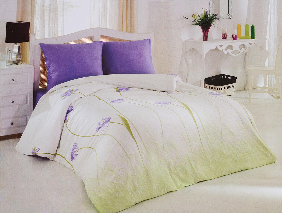 Комплект белья Tete-a-Tete Виола (2-х спальный КПБ, сатин, наволочки 70х70), цвет: зеленый, сиреневыйТ-8064-02Комплект постельного белья Tete-a-Tete Виола является экологически безопасным для всей семьи, так как выполнен из натурального хлопка (сатина). Комплект состоит из простыни, пододеяльника и двух наволочек. Предметы комплекта оформлены красочным цветочным принтом. Сатин производится из высших сортов хлопка, а своим блеском, легкостью и на ощупь напоминает шелк. Такая ткань рассчитана на 200 стирок и более. Постельное белье из сатина превращает жаркие летние ночи в прохладные и освежающие, а холодные зимние - в теплые и согревающие. Благодаря натуральному хлопку, комплект постельного белья из сатина приобретает способность пропускать воздух, давая возможность телу дышать. Одно из преимуществ материала в том, что он практически не мнется, и ваша спальня всегда будет аккуратной и нарядной. Рекомендации по уходу: - Стирка изделий с нейтральными моющими средствами в теплой воде при максимальной температуре 40°С (для темных тканей) и при температуре 60°С (для...