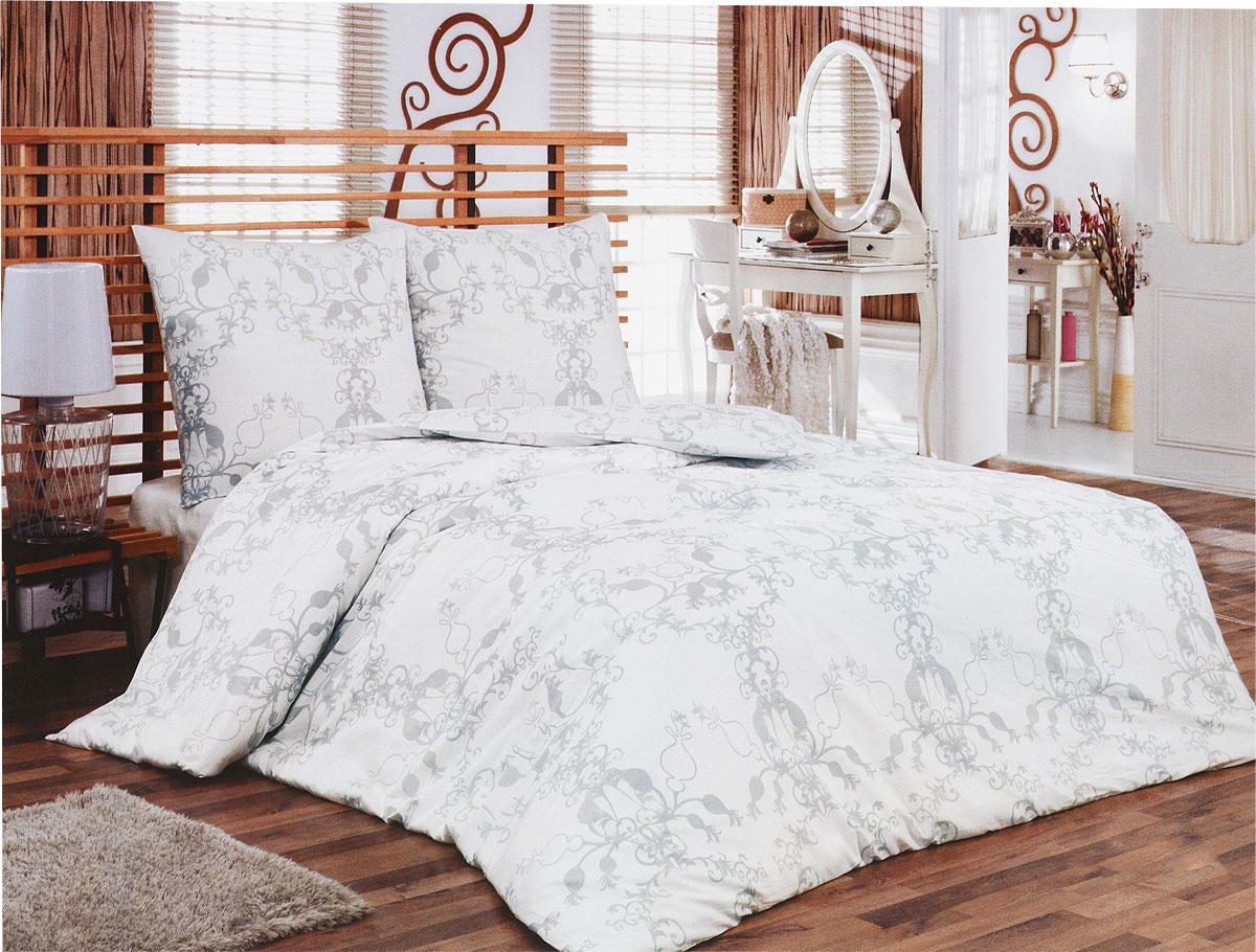Комплект белья Tete-a-Tete Метель (2-х спальный КПБ, сатин, наволочки 70х70), цвет: белый, серый. Т-8066-02Т-8066-02Комплект постельного белья Tete-a-Tete Метель является экологически безопасным для всей семьи, так как выполнен из натурального хлопка (сатина). Комплект состоит из простыни, пододеяльника и двух наволочек. Предметы комплекта белого цвета оформлены изящным серым узором. Сатин производится из высших сортов хлопка, а своим блеском, легкостью и на ощупь напоминает шелк. Такая ткань рассчитана на 200 стирок и более. Постельное белье из сатина превращает жаркие летние ночи в прохладные и освежающие, а холодные зимние - в теплые и согревающие. Благодаря натуральному хлопку, комплект постельного белья из сатина приобретает способность пропускать воздух, давая возможность телу дышать. Одно из преимуществ материала в том, что он практически не мнется, и ваша спальня всегда будет аккуратной и нарядной. Рекомендации по уходу: - Стирка изделий с нейтральными моющими средствами в теплой воде при максимальной температуре 40°С (для темных тканей) и при температуре 60°С (для...