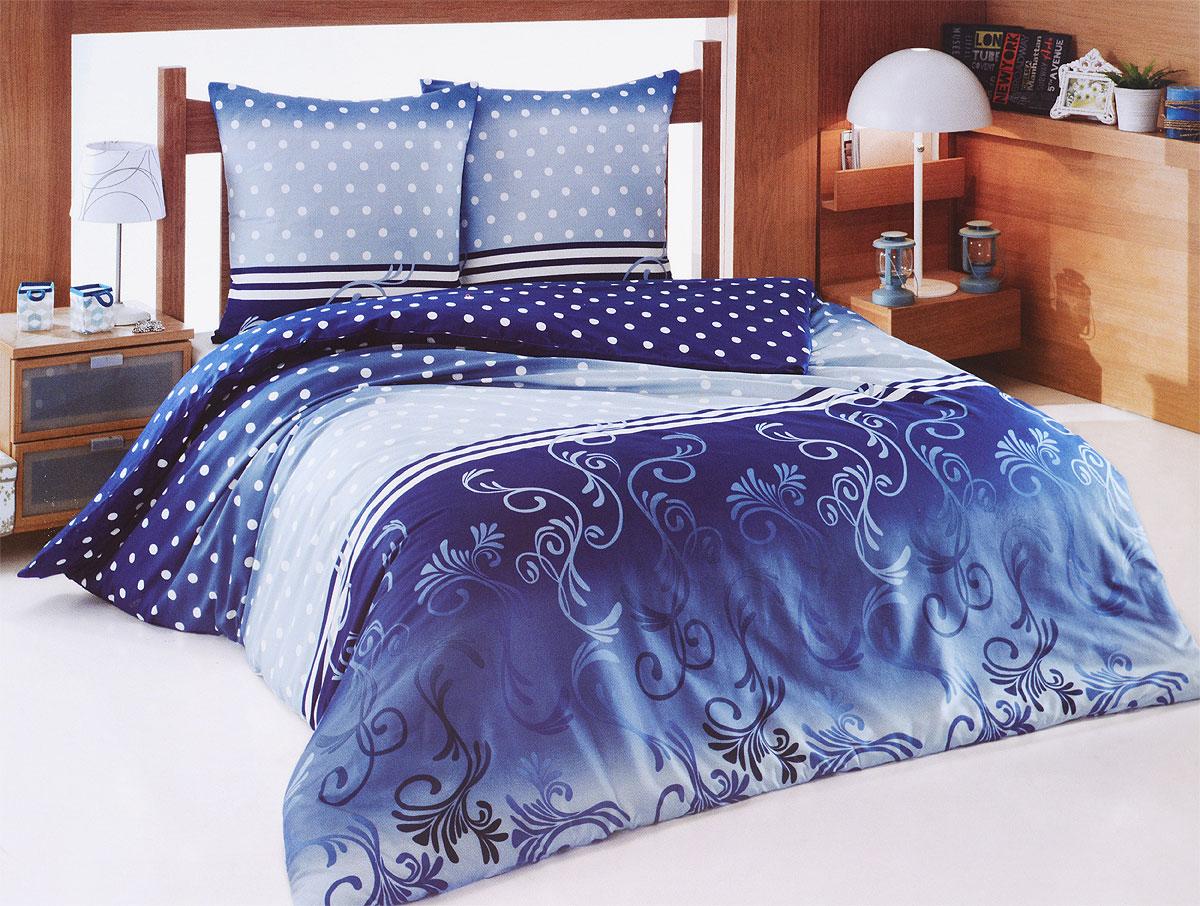 Комплект белья Tete-a-Tete Сумерки (евро КПБ, сатин, наволочки 70х70), цвет: синий, белыйТ-8062-03Комплект постельного белья Tete-a-Tete Сумерки является экологически безопасным для всей семьи, так как выполнен из натурального хлопка (сатина). Комплект состоит из простыни, пододеяльника и двух наволочек. Предметы комплекта темно-синего цвета оформлены принтом в горошек и изящным узором. Сатин производится из высших сортов хлопка, а своим блеском, легкостью и на ощупь напоминает шелк. Такая ткань рассчитана на 200 стирок и более. Постельное белье из сатина превращает жаркие летние ночи в прохладные и освежающие, а холодные зимние - в теплые и согревающие. Благодаря натуральному хлопку, комплект постельного белья из сатина приобретает способность пропускать воздух, давая возможность телу дышать. Одно из преимуществ материала в том, что он практически не мнется, и ваша спальня всегда будет аккуратной и нарядной. Рекомендации по уходу: - Стирка изделий с нейтральными моющими средствами в теплой воде при максимальной температуре 40°С (для темных тканей) и при...