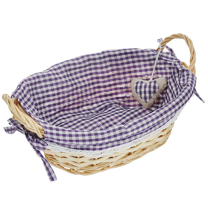 Корзинка для хлеба Premier Housewares, овальная, цвет: фиолетовый, 27 см х 19 см х 13 см1901047Овальная корзинка для хлеба Premier Housewares сплетена из лозы. На внутреннюю поверхность корзинки надет хлопковый чехол с рисунком в фиолетовую клетку, благодаря ему крошки не просыпаются на стол. Корзинка оснащена двумя удобными ручками и украшена декоративным элементом в виде сердечка. В холодный зимний день приятная цветовая гамма корзинки в сочетании с оригинальным дизайном навевают воспоминания о лете, тем самым способствуя улучшению настроения и полноценному отдыху. Характеристики: Материал: лоза, хлопок. Цвет: фиолетовый. Размер корзинки (с учетом ручек) (Д х Ш х В): 29 см х 19 см х 13 см. Размер корзинки (без учета ручек) (Д х Ш х В): 29 см х 19 см х 9 см. Артикул: 1901047.
