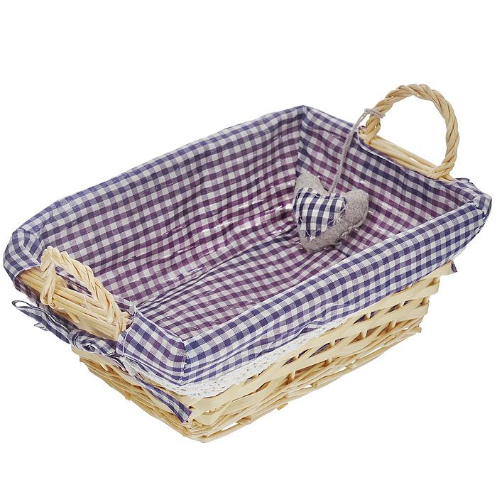 Корзинка для хлеба Premier Housewares, прямоугольная, цвет: фиолетовый, 25 х 18 х 13 см1901049Прямоугольная корзинка для хлеба Premier Housewares сплетена из лозы. На внутреннюю поверхность корзинки надет хлопковый чехол с рисунком в фиолетовую клетку, благодаря ему крошки не просыпаются на стол. Корзинка оснащена двумя удобными ручками и украшена декоративным элементом в виде сердечка. В холодный зимний день приятная цветовая гамма корзинки в сочетании с оригинальным дизайном навевают воспоминания о лете, тем самым способствуя улучшению настроения и полноценному отдыху. Характеристики: Материал: лоза, хлопок. Цвет: фиолетовый. Размер корзинки (с учетом ручек) (Д х Ш х В): 25 см х 18 см х 13 см. Размер корзинки (без учета ручек) (Д х Ш х В): 25 см х 18 см х 9 см. Артикул: 1901049.