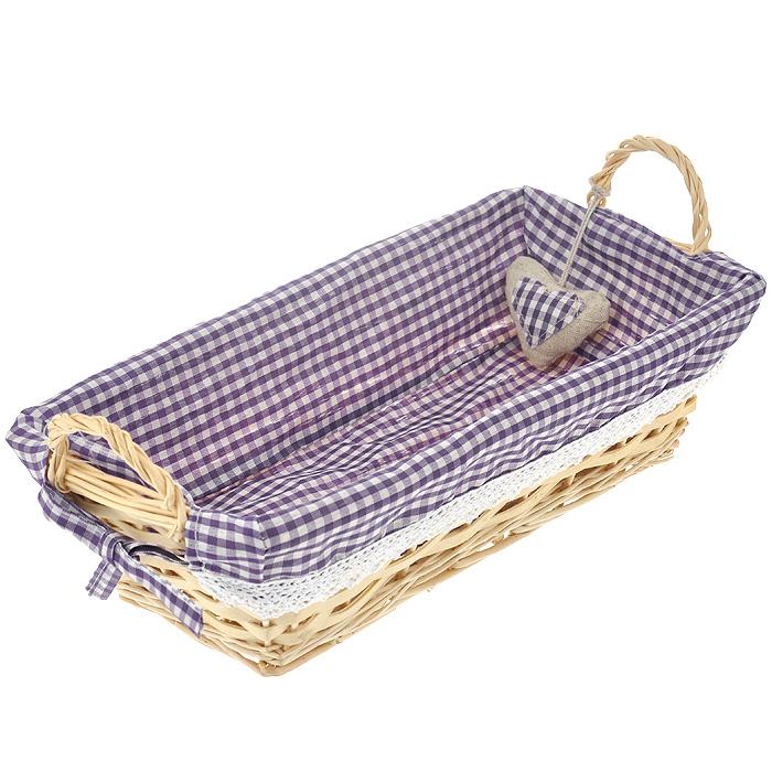 """Корзинка для хлеба """"Premier Housewares"""", прямоугольная, цвет: фиолетовый, 35 см х 17 см х 13 см 1901055"""