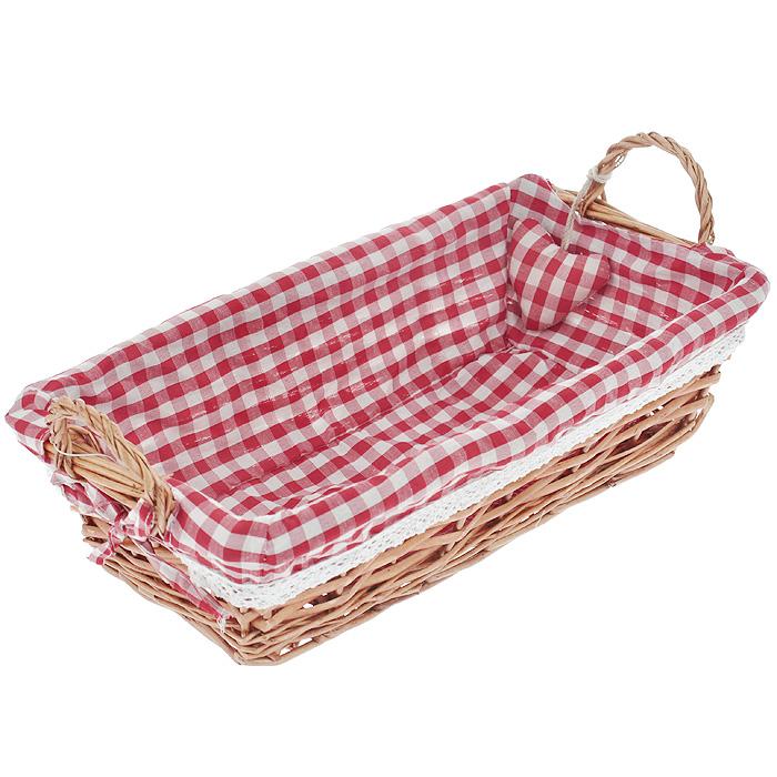 Корзинка для хлеба Premier Housewares, прямоугольная, цвет: красный, 35 х 17 х 13 см1901056Прямоугольная корзинка для хлеба Premier Housewares сплетена из лозы. На внутреннюю поверхность корзинки надет хлопковый чехол с рисунком в красную клетку, благодаря ему крошки не просыпаются на стол. Корзинка оснащена двумя удобными ручками и украшена декоративным элементом в виде сердечка. В холодный зимний день приятная цветовая гамма корзинки в сочетании с оригинальным дизайном навевают воспоминания о лете, тем самым способствуя улучшению настроения и полноценному отдыху. Характеристики: Материал: лоза, хлопок. Цвет: красный. Размер корзинки (с учетом ручек) (Д х Ш х В): 35 см х 17 см х 13 см. Размер корзинки (без учета ручек) (Д х Ш х В): 35 см х 17 см х 9 см. Артикул: 1901056.