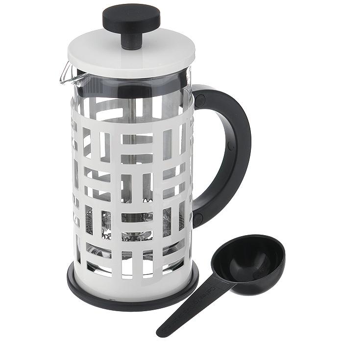 Кофейник Bodum Eileen с прессом, с ложечкой, цвет: белый, 0,35 л11198-913Кофейник Bodum Eileen представляет собой колбу из термостойкого стекла в цельной оправе из окрашенной нержавеющей стали. Оправа защищает хрупкую колбу от толчков и ударов. Кофейник оснащен стальным фильтром french press, который позволяет легко и просто приготовить отличный напиток. Ненагревающаяся ручка кофейника выполнена из пластика. В комплекте небольшая мерная ложечка из черного пластика. Благодаря такому кофейнику приготовление вкуснейшего ароматного и крепкого кофе займет всего пару минут. Профессиональная серия Eileen была задумана и создана в честь великого архитектора и дизайнера - Эйлин Грей (Eileen Gray). При создании серии были особо учтены соображения функционального удобства. Стильный внешний вид и практичность в использовании сделали Eileen чрезвычайно востребованной серией. Характеристики: Материал: нержавеющая сталь, пластик, стекло. Цвет: белый. Объем: 0,35 л. Диаметр кофейника по верхнему краю: 7 см. Высота стенки...
