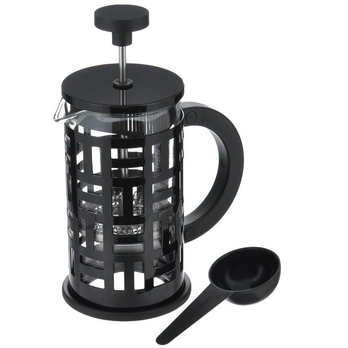 Кофейник Bodum Eileen с прессом, с ложечкой, цвет: черный, 0,35 л11198-01Кофейник Bodum Eileen представляет собой колбу из термостойкого стекла в цельной оправе из окрашенной нержавеющей стали. Оправа защищает хрупкую колбу от толчков и ударов. Кофейник оснащен стальным фильтром french press, который позволяет легко и просто приготовить отличный напиток. Ненагревающаяся ручка кофейника выполнена из пластика. В комплекте небольшая мерная ложечка из черного пластика. Благодаря такому кофейнику приготовление вкуснейшего ароматного и крепкого кофе займет всего пару минут. Профессиональная серия Eileen была задумана и создана в честь великого архитектора и дизайнера - Эйлин Грей (Eileen Gray). При создании серии были особо учтены соображения функционального удобства. Стильный внешний вид и практичность в использовании сделали Eileen чрезвычайно востребованной серией. Характеристики: Материал: нержавеющая сталь, пластик, стекло. Цвет: черный. Объем: 0,35 л. Диаметр кофейника по верхнему краю: 7 см. Высота стенки...