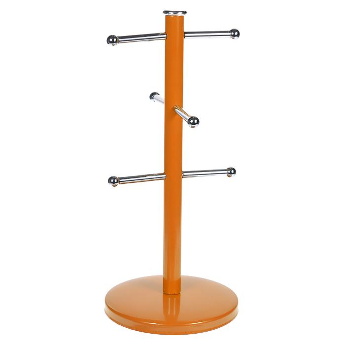 Подставка Living Colour для 6 кружек, цвет: оранжевый0507855Подставка для шести кружек Living Colour, выполненная из стали ярко оранжевого цвета, приведет Вас в восхищение. Это незаменимая вещь для кухни, где не так уж и много свободного пространства. Она представляет собой круглое основание, к которому крепится вертикальный стержень. К стержню присоединены небольшие крючки, на которые вешаются кружки. Края крючков декорированы небольшими шариками. Подставка Living Colour прекрасно подойдет в домашнем быту, она позволяет хранить кружки компактно. Просто повесьте их за ручки на эту подставку.