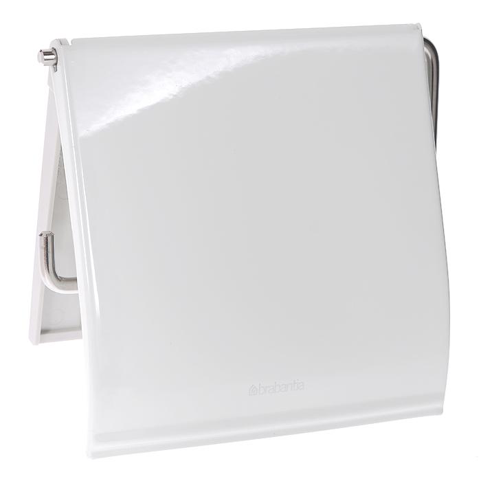 Держатель для туалетной бумаги Brabantia, с крышкой, цвет: белый. 414414Держатель для туалетной бумаги Brabantia изготовлен из высококачественной листовой стали со стойким антикоррозийным покрытием или хромированной стали, поэтому он идеально подходит для использования в ванной и туалете. Пластина крепления выполнена из пластика. Держатель просто монтировать и легко менять рулон. В комплекте фурнитура для монтажа.