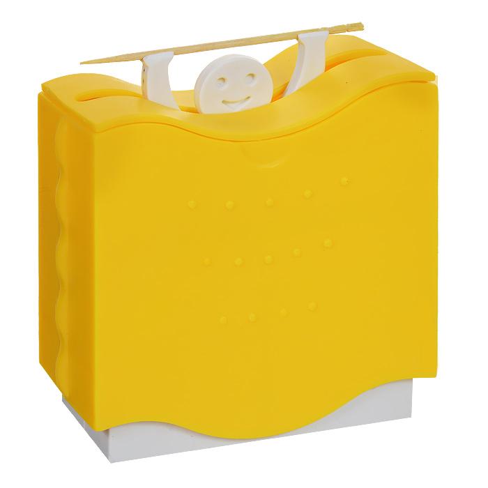 Держатель для зубочисток Bradex Штангист, автоматический, цвет: желтый. TK 0007TK 0007Держатель для зубочисток Bradex Штангист изготовлен из пластика желтого цвета. Контейнер держателя вмещает в себя 50 зубочисток и подает по одной зубочистке за раз при опускании вниз корпуса держателя. Иногда бывает приятно дополнить свою кухню каким-нибудь забавным и, в то же время, полезным аксессуаром. Если вы не знаете, где и как удобнее хранить зубочистки, то Штангист, безусловно, будет полезен на вашей кухне!
