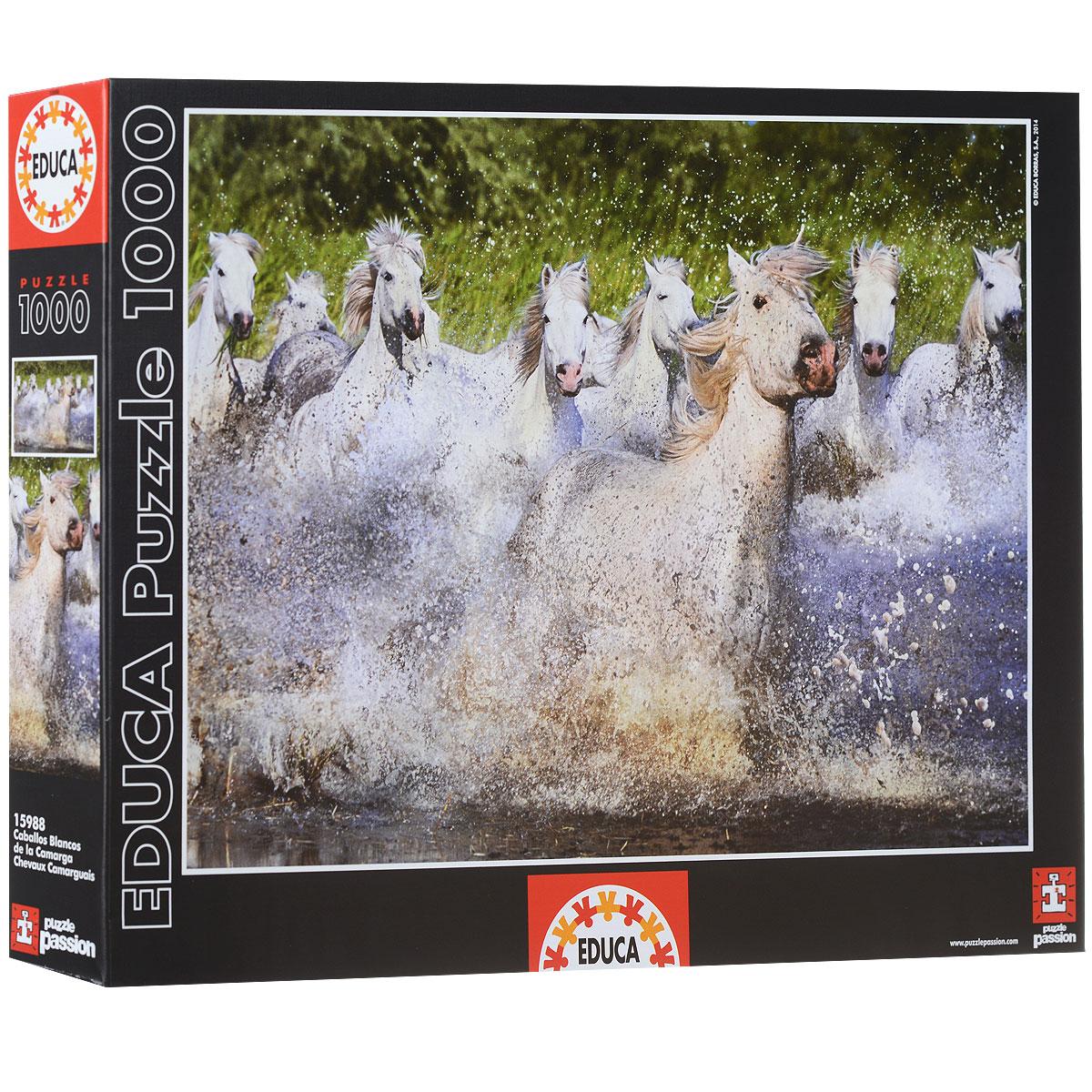 Белые камаргские лошади. Пазл, 1000 элементов15988Пазл Белые камаргские лошади несомненно придется вам по душе. Собрав этот пазл, включающий в себя 1000 элементов, вы получите великолепную картину с изображением бегущих по мелководью белых камаргских лошадей. В комплект входит специальный клей, представляющий собой порошок, который перед применением требуется развести водой. Он надежно склеивает собранный пазл и не оставляет следов на поверхности картинки. Пазлы - прекрасное антистрессовое средство для взрослых и замечательная развивающая игра для детей. Собирание пазла развивает у ребенка мелкую моторику рук, тренирует наблюдательность, логическое мышление, знакомит с окружающим миром, с цветом и разнообразными формами, учит усидчивости и терпению, аккуратности и вниманию. Собирание пазла - прекрасное времяпрепровождение для всей семьи.
