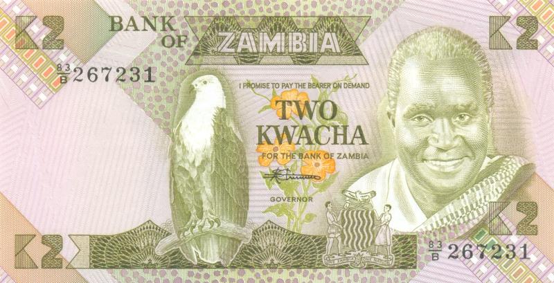 Банкнота номиналом 2 квача. Замбия. 1980-1988 гг.