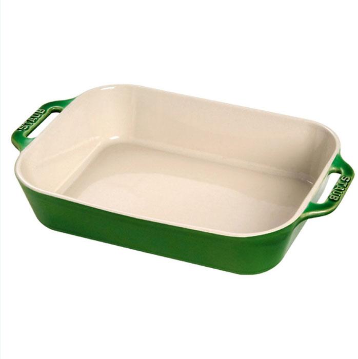 """Форма прямоугольная керамическая """"Staub"""", цвет: зеленый базилик, 27 см х 20 см х 6,5 см"""