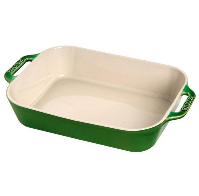 Форма прямоугольная керамическая Staub, цвет: зеленый базилик, 34 х 24 х 6,5 см40511-150Прямоугольная форма Staub изготовлена из керамики, покрытой эмалью из стеклянного порошка. Не содержит свинца. Она отлично подойдет для приготовления и подачи на стол разнообразных запеканок, кексов и пирогов. Подходит для использования в духовке, гриле и микроволновой печи, может использоваться для сервировки. Нельзя использовать на открытом огне. Можно помещать в морозильную камеру, но не ставить керамическую посуду из морозильной камеры сразу в горячую духовку. Можно мыть в посудомоечной машине или вручную, используя губку. Сушить вверх дном. Максимальная и минимальная температура использования: +300°С/-20°С.