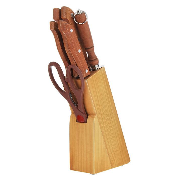 Набор ножей Atlantis Ника, 8 предметов. 2402000-NBS012406000-NBS01Великолепный набор ножей Ника изготовлен из первоклассной нержавеющей стали. Набор состоит из 5 ножей: поварского ножа, ножа для нарезки, ножа обвалочного, кухонного ножа, разделочного ножа, также ножниц и точилки. Ножи хранятся в стильной подставке из прочной древесины. Как известно, большая часть времени на кухне тратится на подготовку пищи к ее дальнейшей тепловой обработке, поэтому особенно важно, чтобы основной инструмент повара - нож, был создан под него, именно тогда процесс приготовления пищи доставляет кулинару истинное удовольствие. А это очень важно, ведь от настроения повара во многом зависит вкус готового блюда.