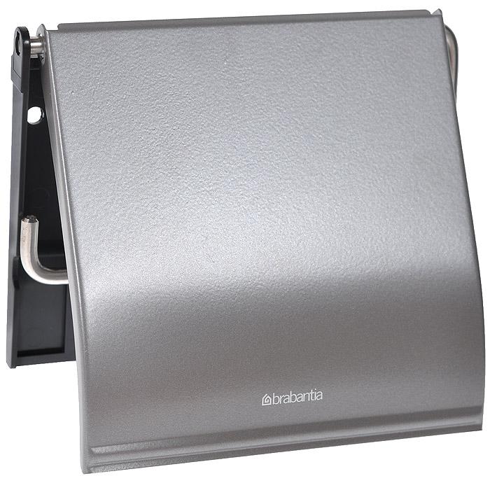 Держатель для туалетной бумаги Brabantia, с крышкой, цвет: платиновый. 477300477300Держатель для туалетной бумаги Brabantia изготовлен из высококачественной листовой стали со стойким антикоррозийным покрытием или хромированной стали, поэтому он идеально подходит для использования в ванной и туалете. Пластина крепления выполнена из пластика. Держатель просто монтировать и легко менять рулон. В комплекте фурнитура для монтажа.