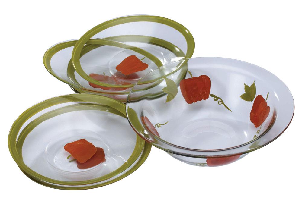 Набор салатников Bekker Перчик, 7 предмета. BK-6708BK-6708Набор Bekker включает в себя семь салатников, выполненных из высококачественного стекла и оформленных изображением красных перчиков. Оригинальность оформления набора придется по вкусу и ценителям классики, и тем, кто предпочитает утонченность и изысканность. Салатники можно мыть в посудомоечной машине. Характеристики: Материал: стекло. Объем большого салатника: 1,7 л. Диаметр большого салатника по верхнему краю: 27,5 см. Высота большого салатника: 8,5 см. Диаметр маленьких салатников по верхнему краю: 22,5 см. Высота маленьких салатников: 4 см. Комплектация: 7 шт.