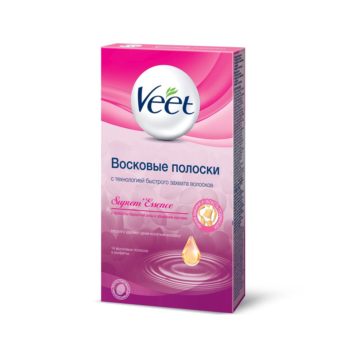 Veet Восковые полоски для чувствительных участков тела с ароматом бархатной розы и эфирными маслами, 14 шт, 4 салфетки