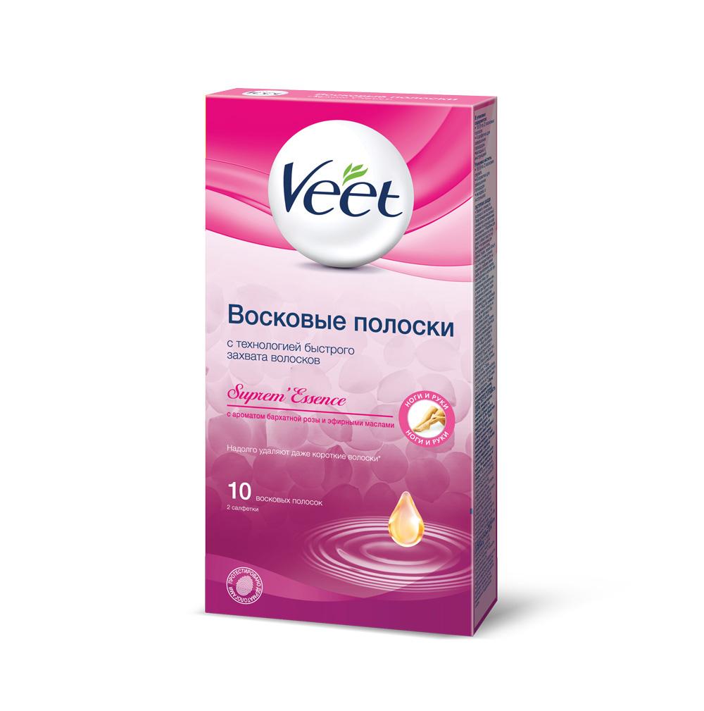 Veet Восковые полоски с ароматом бархатной розы и эфирными маслами, 10 шт, 2 салфетки