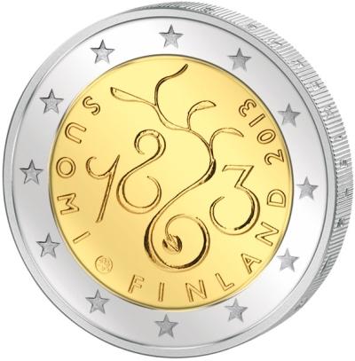 Монета номиналом 2 евро 150 лет с начала регулярных сессий сейма Финляндии. Финляндия, 2013 годF30 BLUEМонета номиналом 2 евро 150 лет с начала регулярных сессий сейма Финляндии. Финляндия, 2013 год Диаметр 2,5 см. Сохранность UNC (без обращения)