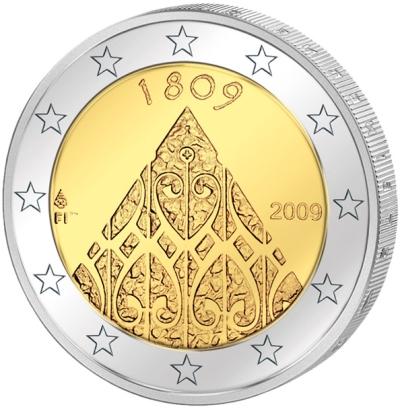 Монета номиналом 2 евро 200 лет автономии Финляндии. Финляндия, 2009 годL2070 EМонета номиналом 2 евро 200 лет автономии Финляндии. Финляндия, 2009 год Диаметр 2,5 см. Сохранность UNC (без обращения).