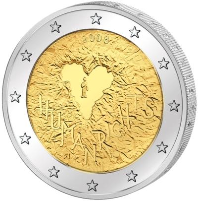 Монета номиналом 2 евро 60 лет Декларации прав человека. Финляндия, 2008 годF30 BLUEМонета номиналом 2 евро 60 лет Декларации прав человека. Финляндия, 2008 год Диаметр 2,5 см. Сохранность UNC (без обращения).