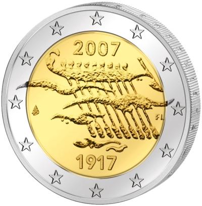 Монета номиналом 2 евро 90 лет независимости Финляндии. Финляндия, 2007 годL2070 EМонета номиналом 2 евро 90 лет независимости Финляндии. Финляндия, 2007 год Диаметр 2,5 см. Сохранность UNC (без обращения).