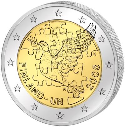 Монета номиналом 2 евро Организация объединенных наций. Финляндия, 2005 годF30 BLUEМонета номиналом 2 евро Организация объединенных наций. Финляндия, 2005 год Диаметр 2,5 см. Сохранность UNC (без обращения).