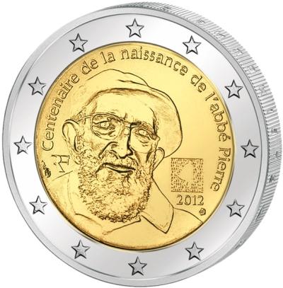 Монета номиналом 2 евро 100 лет со дня рождения Аббата Пьера. Франция, 2012 годL2070 EМонета номиналом 2 евро 100 лет со дня рождения Аббата Пьера. Франция, 2012 год. Диаметр 2,5 см. Сохранность UNC (без обращения).