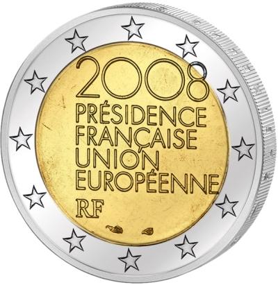 Монета номиналом 2 евро Председательство в ЕС. Франция, 2008 годF30 BLUEМонета номиналом 2 евро Председательство в ЕС. Франция, 2008 год Диаметр 2,5 см. Сохранность UNC (без обращения).