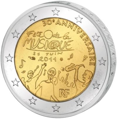 Монета номиналом 2 евро 30 лет Дню музыки во Франции. Франция, 2011 год211104Монета номиналом 2 евро 30 лет Дню музыки во Франции. Франция, 2011 год. Диаметр 2,5 см. Сохранность UNC (без обращения).